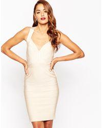ASOS | Natural Sculpt Premium Bandage Premium Bandage Curved Panel Midi Bodycon Dress | Lyst