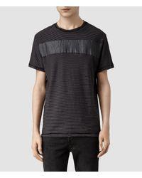 AllSaints Gray Diagon Crew T-Shirt for men