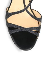 Christian Louboutin Black Audrey Glitter Strappy Sandals