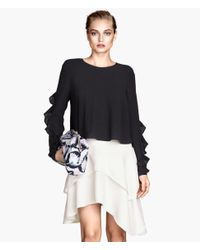 H&M White Asymmetric Tiered Skirt