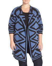 NIC+ZOE Blue 'mirrored Angles' Open Front Knit Jacket
