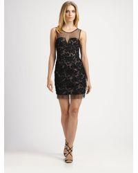 BCBGMAXAZRIA - Black Abigail Ribbon Embroidery Dress - Lyst