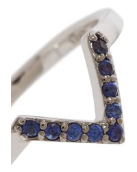 Elizabeth and James | Metallic Edo Rhodium-plated Synthetic Sapphire Ring | Lyst