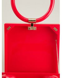 Charlotte Olympia Red 'kittyclutch' Hoop Handle Clutch