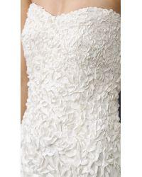 THEIA - White Courtney Strapless Petal Gown - Lyst