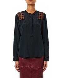Rebecca Taylor Black Lace-Panel Silk Blouse