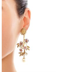 Dolce & Gabbana Metallic Blossom Flower and Pearl Earrings