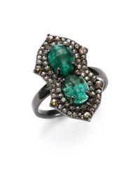 Bavna - Green Diamond, Emerald & Sterling Silver Ring - Lyst