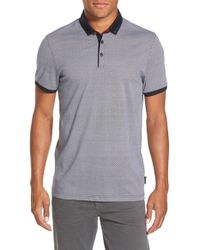 Ted Baker - Blue 'Chapmun' Slim Fit Geo Print Polo for Men - Lyst
