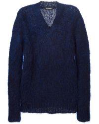 Raf Simons - Blue V-neck Sweater for Men - Lyst
