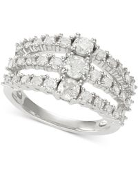 Macy's | Diamond Three-row Ring (1-1/2 Ct. T.w.) In 14k White Gold | Lyst