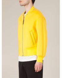 Neil Barrett Yellow Zip Collar Bomber Jacket for men