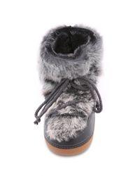 Ikkii | Gray Lace-Up Rabbit-Fur Snow Boots | Lyst