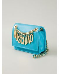 Moschino | Blue Logo-Chain Calf-Leather Cross-Body Bag | Lyst