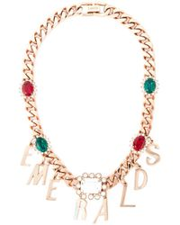 Mawi | Metallic Emeralds Word Charm Necklace | Lyst