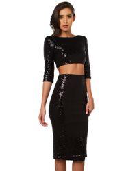 AKIRA Black Courtney Sequin Skirt