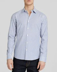 Michael Kors Blue Tailored Darian Check Button Down Shirt - Slim Fit for men