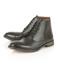 Frank Wright Black Oval Mens Lace-up Boots for men