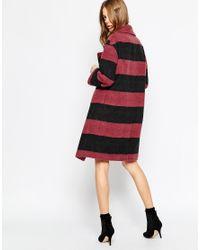 Helene Berman - Multicolor Charcoal & Berry Stripe Double Button Coat - Lyst