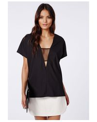 Missguided Hayley Mesh Insert Shell Top Black