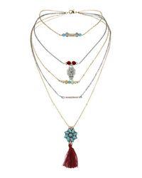 TOPSHOP - Multicolor Tassel Multi-Row Necklace - Lyst