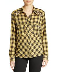 Free People - Yellow Lace-Up Plaid Crepe Blouse - Lyst