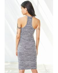 Silence + Noise Gray High-neck Space-dye Tulip Dress