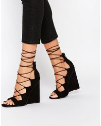 ASOS | Black Homegirl Lace Up Wedge Heels | Lyst