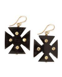 Ashley Pittman - Black Araba Dark Horn Maltese Cross Earrings - Lyst