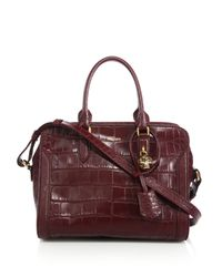 Alexander McQueen | Purple Padlock Small Crocodile-embossed Satchel | Lyst