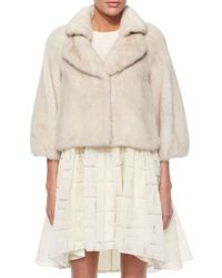 Co. - White Bracelet-sleeve Cropped Mink At - Lyst