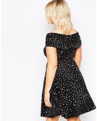 ASOS - Black Twist Bardot Skater Dress In Ditsy Star Print - Lyst
