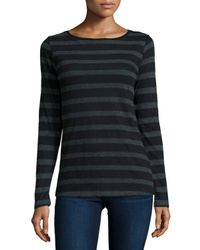 Neiman Marcus | Gray Long-sleeve Striped Cotton/cashmere Tee | Lyst