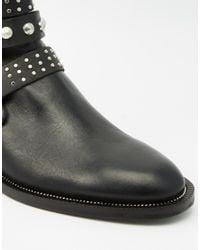Mango | Black Studded Buckle Biker Boot | Lyst