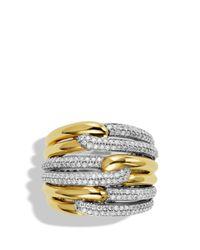David Yurman Metallic Labyrinth Triple-loop Ring With Diamonds