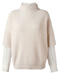 Brunello Cucinelli - Natural Layered Chunky Sweater - Lyst