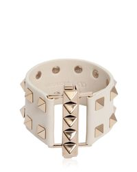 Valentino - White Studded Leather Cuff Bracelet - Lyst