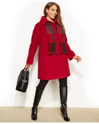 London Fog Red Plus Size Single-Breasted Wool-Blend Peacoat With Plaid Scarf
