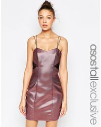 ASOS | Purple Tall Lace Back Metallic Bodycon Dress | Lyst