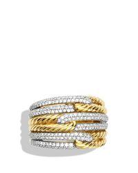 David Yurman Yellow Labyrinth Triple-loop Ring With Diamonds
