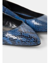Violeta by Mango | Blue Leather Ballerinas | Lyst