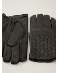 Bottega Veneta - Black Intrecciato Gloves for Men - Lyst