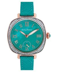 Tommy Bahama - Blue 'lokelani' Crystal Bezel Leather Strap Watch - Lyst