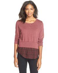 Monrow | Purple Double Layer Sweatshirt | Lyst