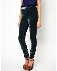 Winter Kate Green Velvet Skinny Pants