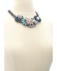Forever 21 | Multicolor Faux Gem Floral Statement Necklace | Lyst