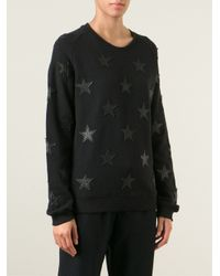 Zoe Karssen Black Star Patches Cotton Sweatshirt