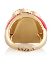 Nina Ricci - Red Goldtone Resin and Crystal Ring - Lyst