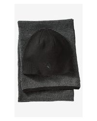 Express Black Cotton Waffle Knit Scarf And Beanie Gift Set for men