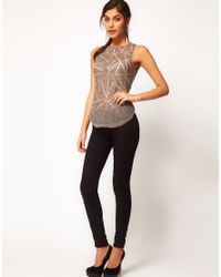 ASOS - Gray Vest With Diamond Embellished Dipped Back - Lyst